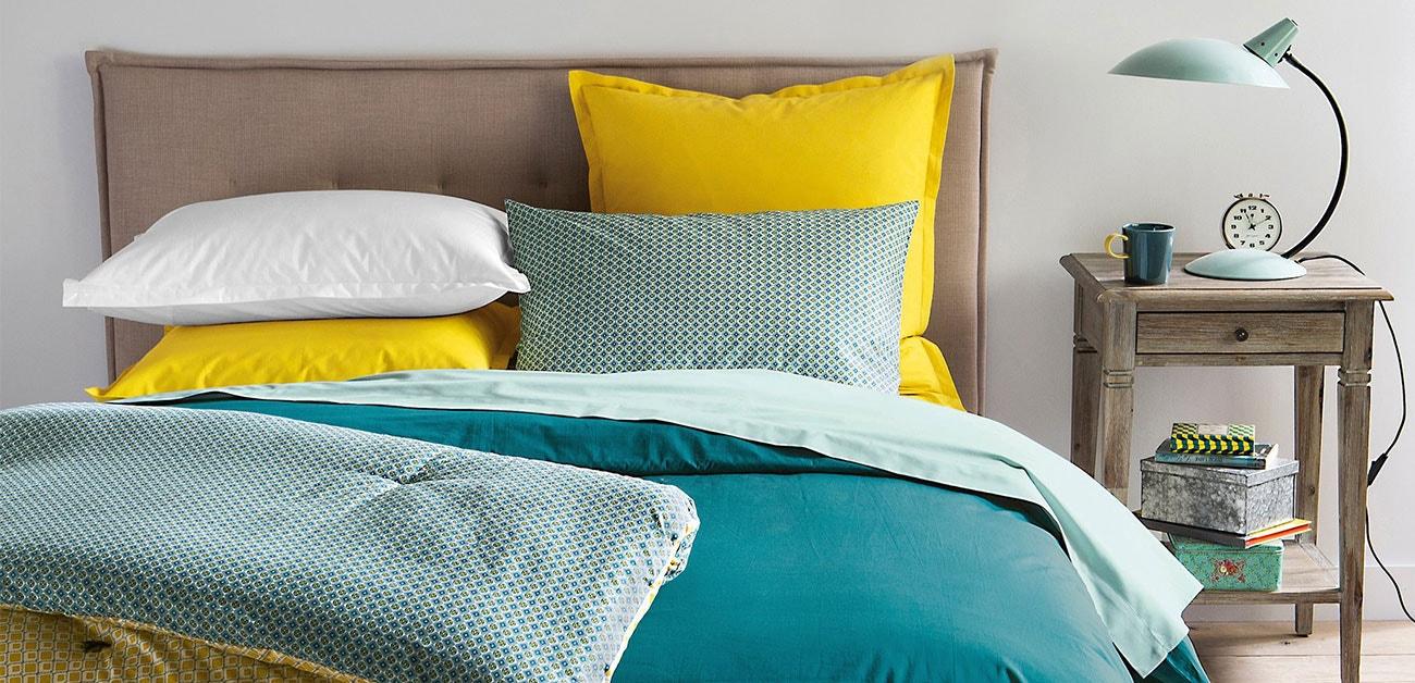 Roupa de cama, almofadas, cortinados,…