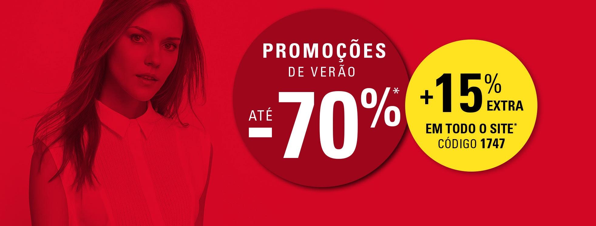 PROMOÇÕES DE VERÃO ATÉ -70%* + 15% EXTRA