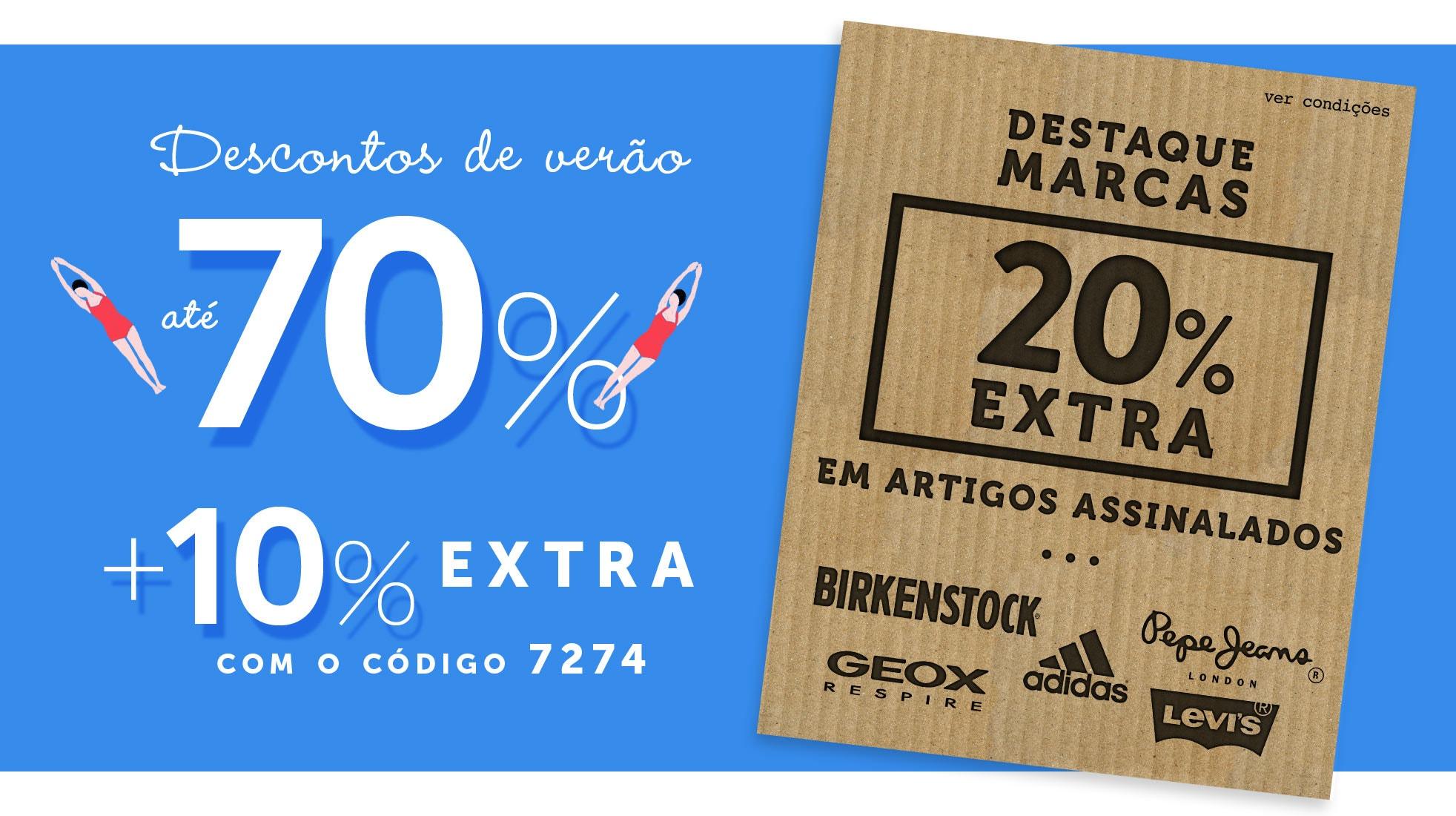 Descontos até -70% + 10% EXTRA e ainda 20% EXTRA em artigos assinalados
