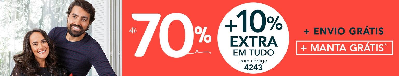 Descontos até 70% + 10% EXTRA em TUDO
