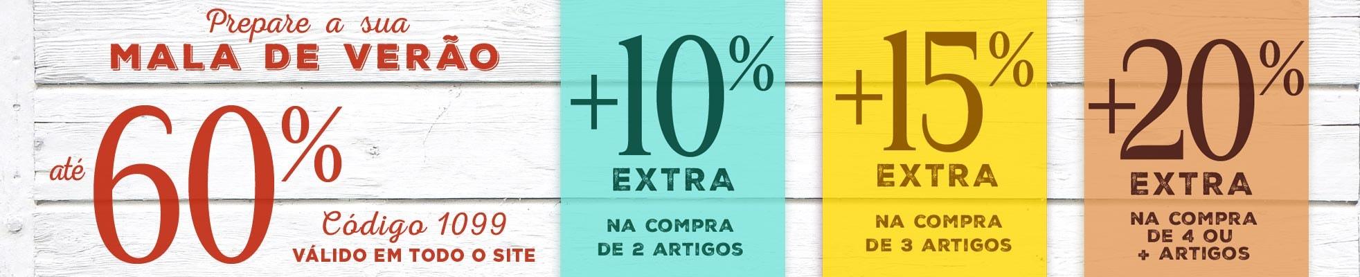 Mala de Verão: reduções até 60% +10%, 15% ou 20% EXTRA!